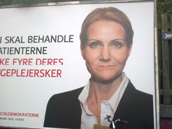 Helle Thorning, ansigtsudtryk, plakat