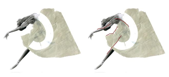 Dekomposition Dekomponering Illustration moderne ballet